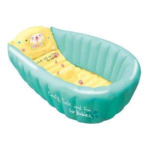 韩国NAI-B 婴儿充气浴盆 洗澡盆 薄荷绿 內附按压式打气棒 + 小鸭水温计  (适用年龄3岁以下)