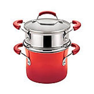 Rachael Ray® 3-qt. Red Gradient Hard Enamel Nonstick Covered Steamer Set | Bon-Ton