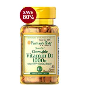 Chewable Vitamin D3 2000 IU 100 Tablets | Semi-Annual Sale Supplements | Puritan's Pride