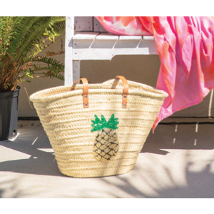 St. Honore Pineapple Sequins Straw Bag | South Moon Under