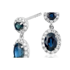 Sapphire and Diamond Halo Drop Earrings in 14k White Gold (6x4mm) | Blue Nile