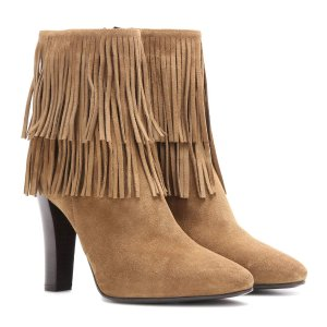 Saint Laurent - Lily 95 fringed suede ankle boots
