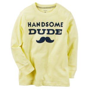 Kid Boy Long-Sleeve Handsome Dude Graphic Tee | Carters.com