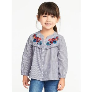 Floral-Embroidered Ruffled Shirt for Toddler Girls