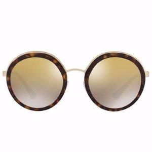 Prada Trimmed Mirrored Round Sunglasses