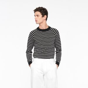 Silk And Cotton Striped Sweater - Sweaters - Sandro-paris.com