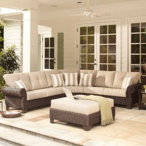 Hampton Bay Mill Valley 4-Piece Patio Sectional Set with Parchment Cushions-143-002-4SECOLE - The Home Depot
