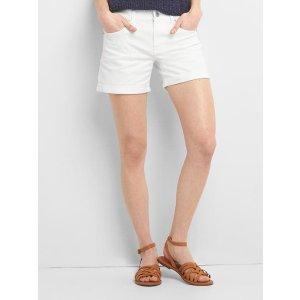 Mid rise denim roll shorts