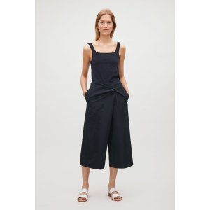 Cropped trousers with knot detail - Dark Navy - Sale - COS US