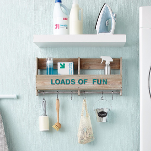Wooden Shelf with S Hooks - Threshold™