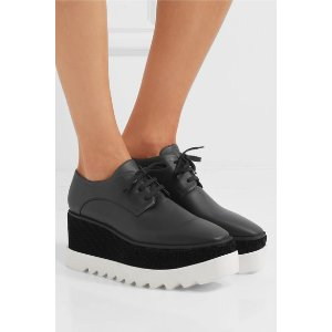 Elyse velvet-trimmed faux leather platform brogues