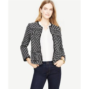 Ruffle Tweed Diagonal Stripe Jacket | Ann Taylor