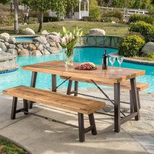 Outdoor Puerto Acacia Wood 3-piece Picnic Dining Set by Christopher Knight Home | Overstock.com Shopping - The Best Deals on Dining Sets