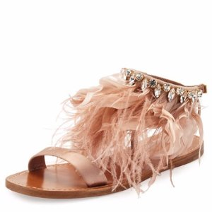 Miu Miu Feather-Ankle Flat Sandal, Neutral