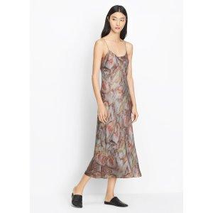 Watercolor Print Silk Slip Dress for Women | Vince
