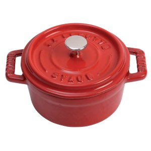 Staub Cast Iron 0.25-qt Round Cocotte - Visual Imperfections - Cherry