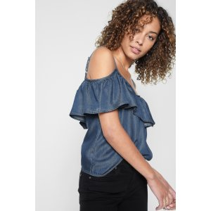 Cold Shoulder Ruffled Top in Park Medium Blue - 7FORALLMANKIND