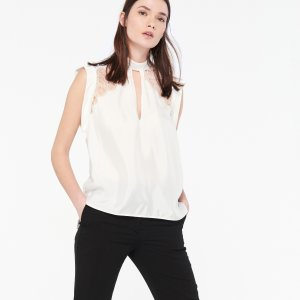Top With Lace Insert - Tops & Shirts - Sandro-paris.com