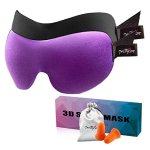 PrettyCare Sleep Mask (New Design with 2 Pack) Eye Mask for Sleeping - 3D Contoured Face Mask - Night Eyeshade with EarPlugs & Travel Silk Pouch - Best Sleep Aid for Men Women Kid (Black + Purple)