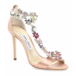 Jimmy Choo - Reign 100 Crystal-Embellished Satin T-Strap Sandals - saks.com