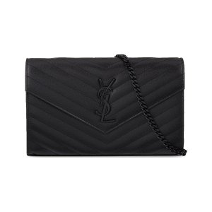 SAINT LAURENT - Monogram quilted leather envelope clutch | Selfridges.co