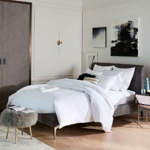 Deco Upholstered Bed-Worn Velvet | west elm