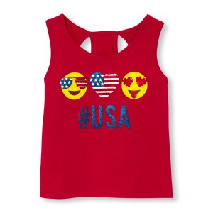 Toddler Girls Americana Sleeveless Embellished Graphic Cutout Back Top | The Children's Place