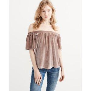 Womens Off-The-Shoulder Velvet Top | Womens Summer Sale Styles | Abercrombie.com
