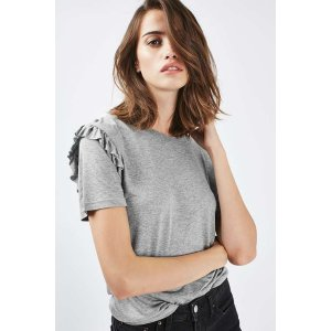 PETITE Frill Sleeve T-Shirt - Tops - Clothing - Topshop USA