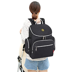 $24S-ZONE Multi-function Baby Diaper Bag Backpack with Changing Pad and Portable Insulated Pocket (Black)