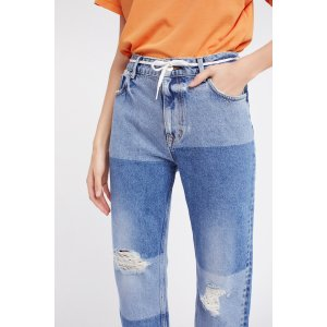 Free People Ripped Patchwork Girlfriend Jeans