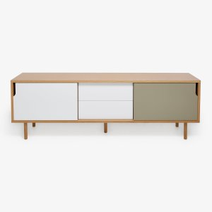 Cubist Two-Tone Oak Sideboard