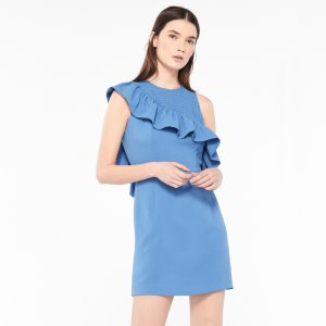 Dress With Asymmetrical Ruffle - Dresses - Sandro-paris.com