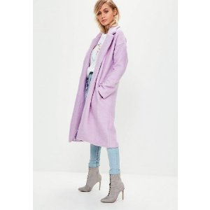 Missguided - Lilac Long Wool Coat