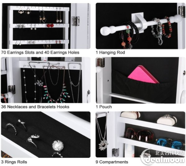 34 off LANGRIA Lockable Mirrored Jewelry Cabinet with LED Lights