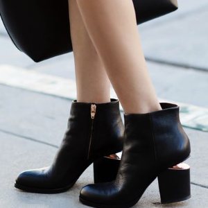 Gabi Leather Block Heel Booties