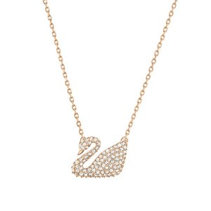 Swan Swarovski Crystal and Rose Goldtone Pendant Necklace