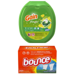 Gain Flings Original Laundry Detergent Pacs, 81 Count+Bounce Fabric Softener Sheet's, Outdoor Fresh