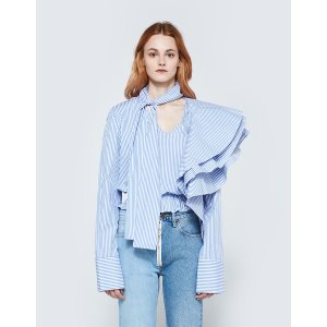Off-White Striped Crazy Ruffle Shirt