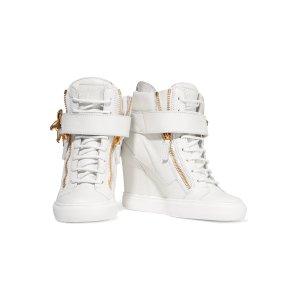 Giuseppe Zanotti Embellished leather wedge sneakers