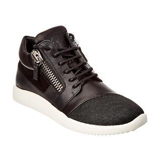 Giuseppe Zanotti Leather & Mesh Slide Zip Sneaker