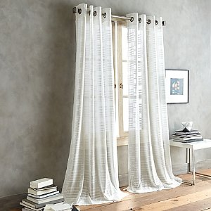 DKNY City Line Sheer Grommet Top Window Curtain Panel in White - Bed Bath & Beyond