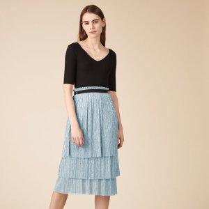 JELENA Pleated-effect lurex midi skirt - Skirts & Shorts - Maje.com