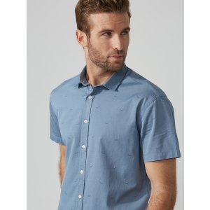 Jacquard-Cotton Short-Sleeve Oxford in Faded Blue | Frank And Oak