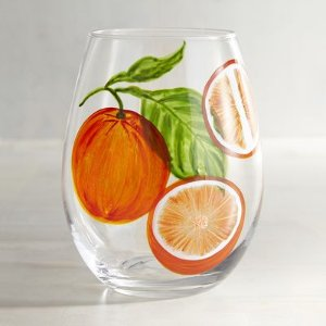 Citrus Blood Orange Painted Stemless Wine Glass