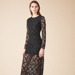 ROSANE Long patterned lace dress - Dresses - Maje.com
