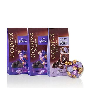 Wrapped Assorted Dark Chocolate Truffles, Large Bags, Set of 3, 19 pc. each | GODIVA