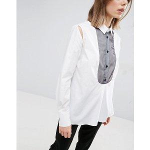 ASOS White | ASOS WHITE Organza Bib Detail Shirt With Side Split