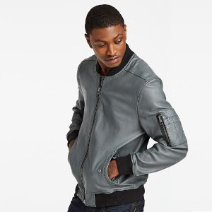 Timberland | Men's Short Hill Mountain Leather Bomber Jacket