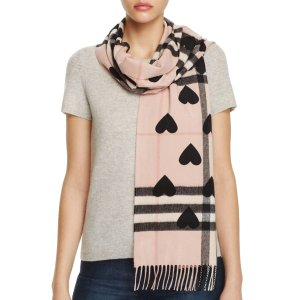 Burberry Reversible Heart Print Giant Check Cashmere Scarf | Bloomingdale's